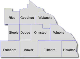 image of all the counties in Minnesota SEMAAA serves